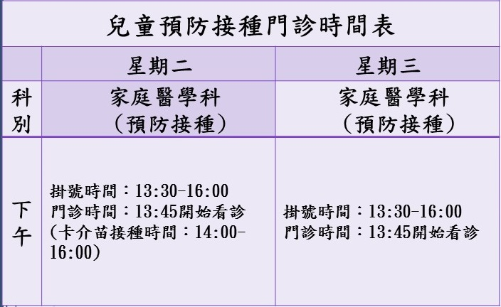 兒童預防接種時間表