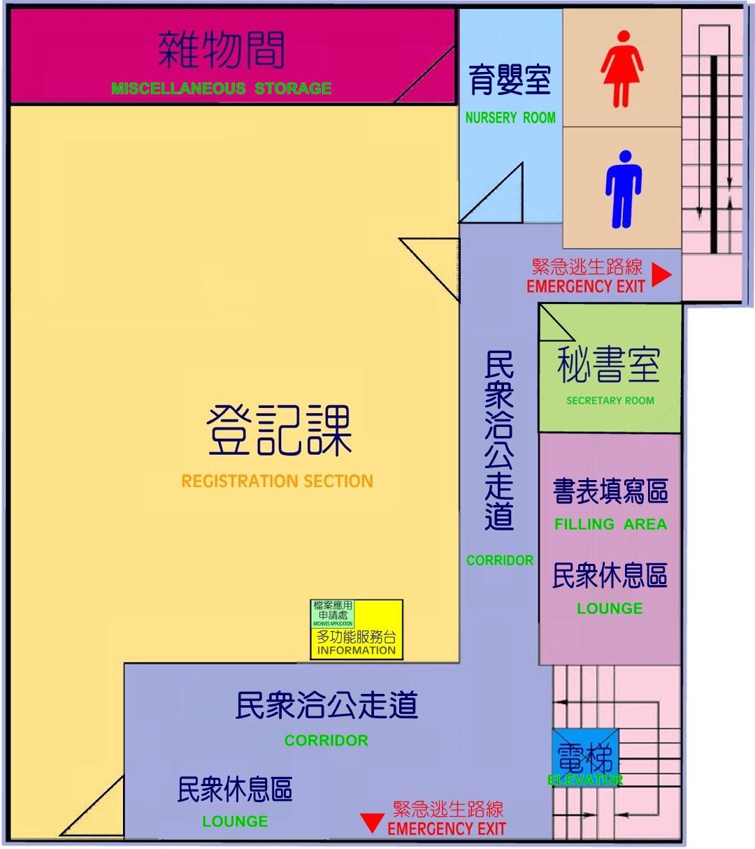 一樓平面圖,本所一樓設有秘書室、登記課及各項業務申請櫃檯,另闢多功能服務台、民眾休息區、書表填寫區及育嬰室
