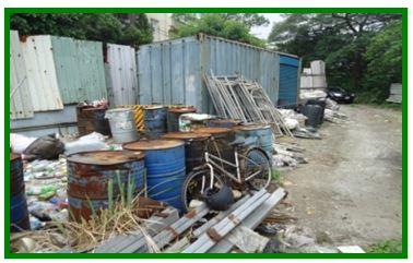 農牧用地上鋪設水泥、放置鐵條及鐵桶等雜物