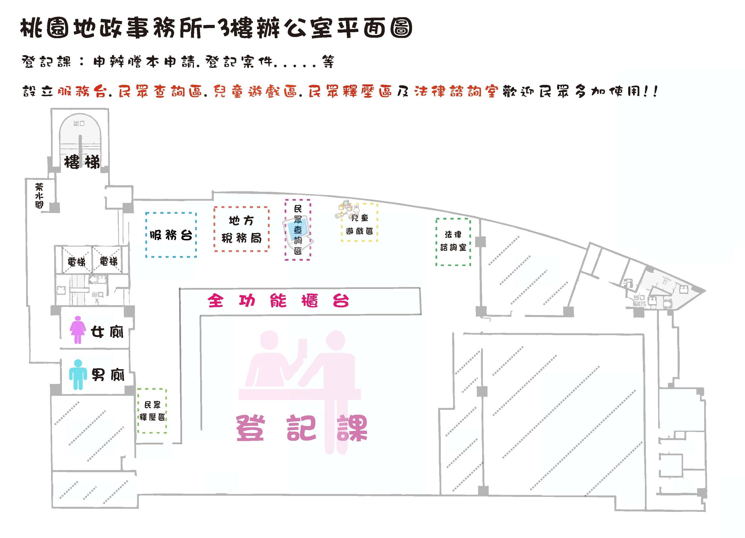 桃園地政事務所3樓平面圖