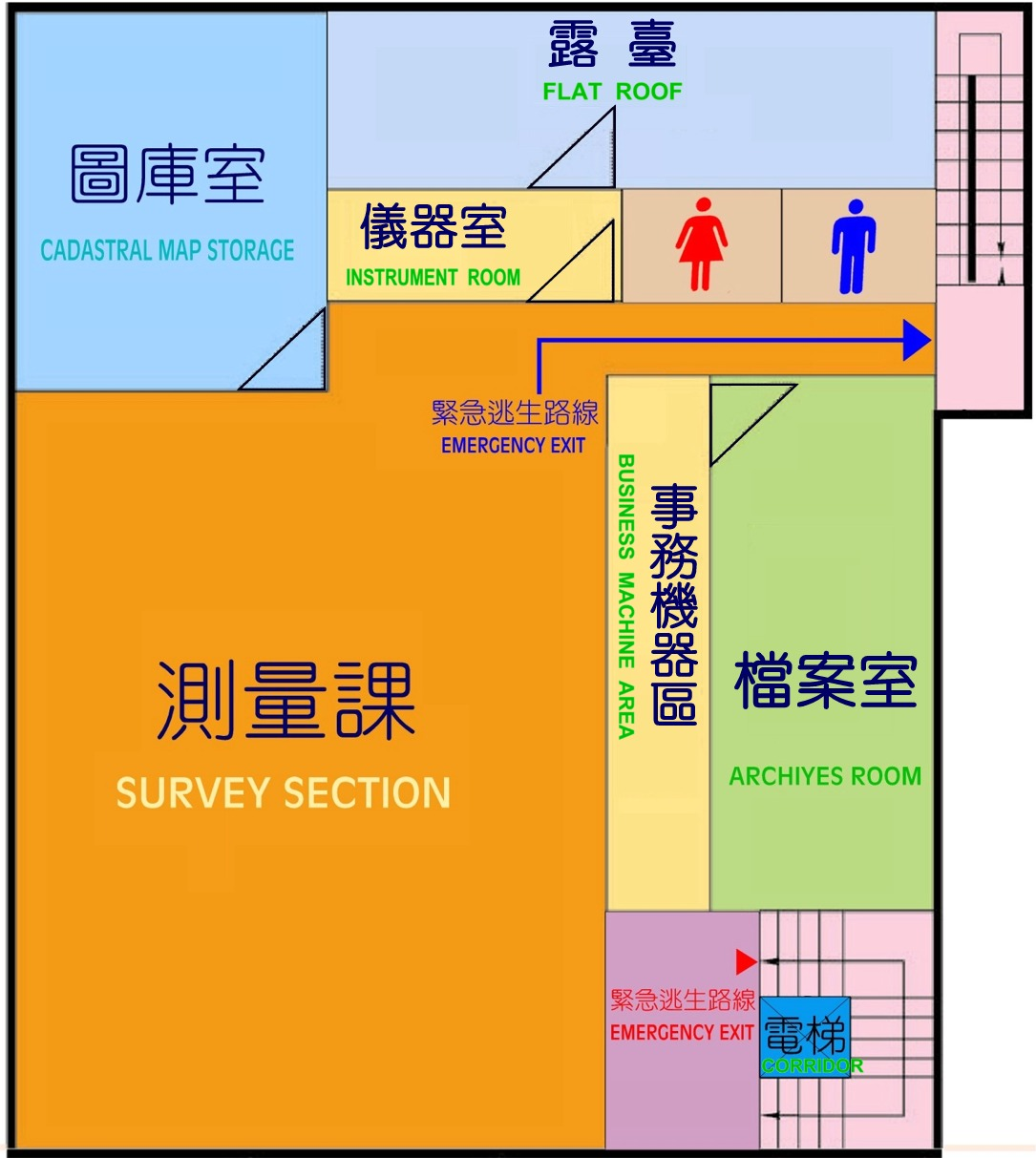 四樓平面圖,本所四樓設有測量課及測量圖庫室、檔案室