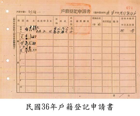 民國36年戶籍登記申請書