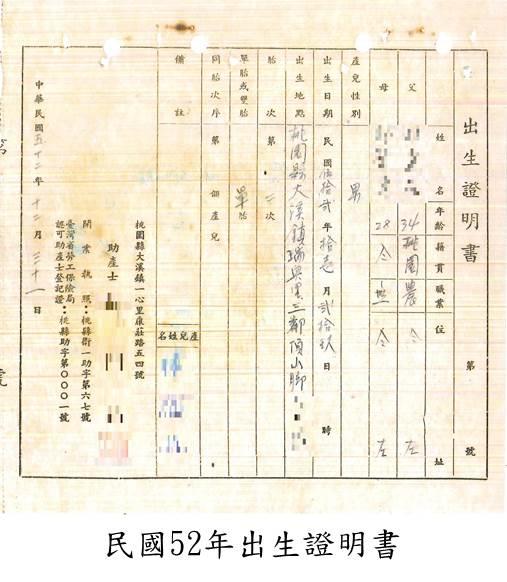 民國52年出生證明書