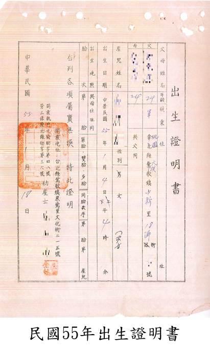民國55年出生證明書
