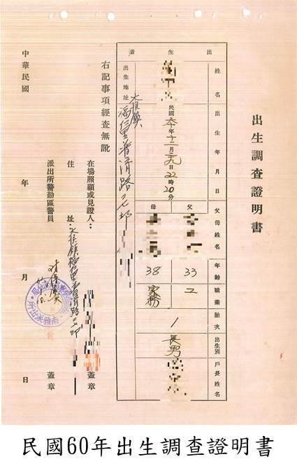 民國60年出生調查證明書