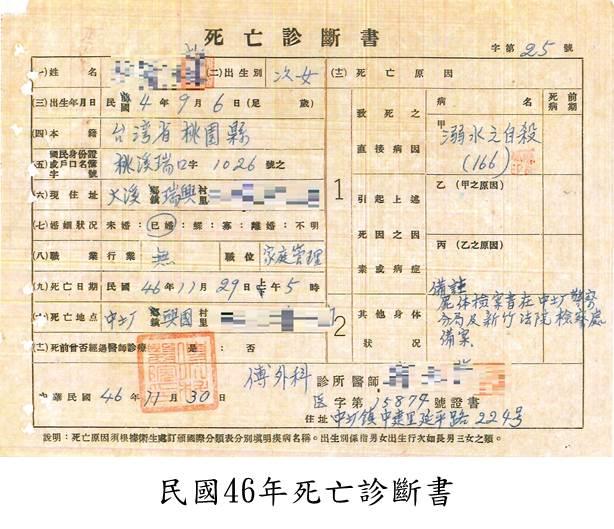 民國46年死亡診斷書