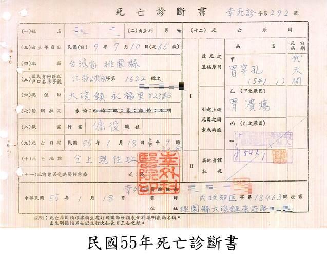 民國55年死亡診斷書