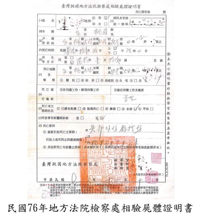 民國76年地方法院檢察處相驗屍體證明書