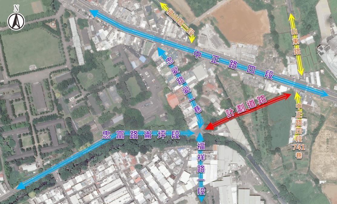 忠富路工程範圍圖