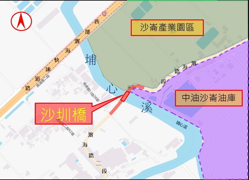 大園區沙圳橋橋梁改建工程範圍圖