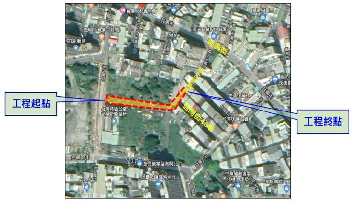 桃園區延壽街97巷延伸至益壽八街道路開闢工程範圍圖