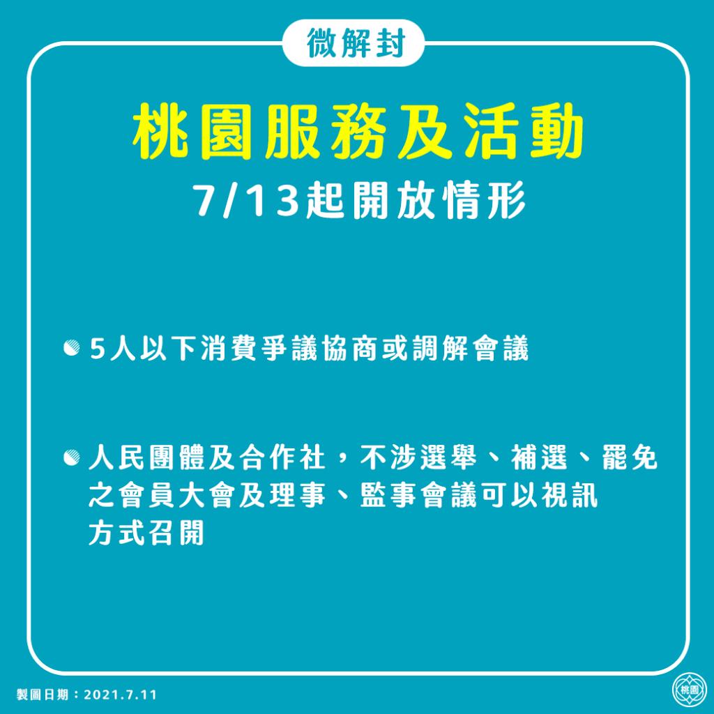 0713起桃園微解封措施-服務及活動
