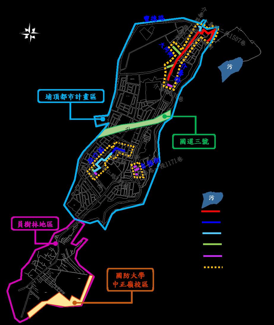 《埔頂系統BOT範圍圖》計畫範圍:埔頂都市計畫區及員樹林地區範圍。
