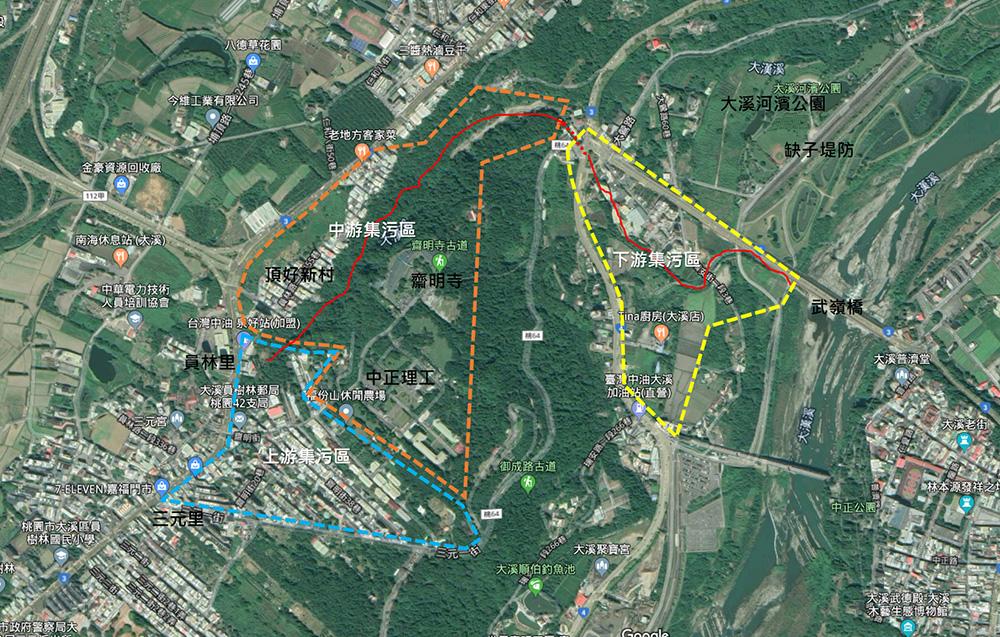 現地處理系統:主要收集大溪市鎮排水河未處理之污水,以攔水堰將污水攔取至系統