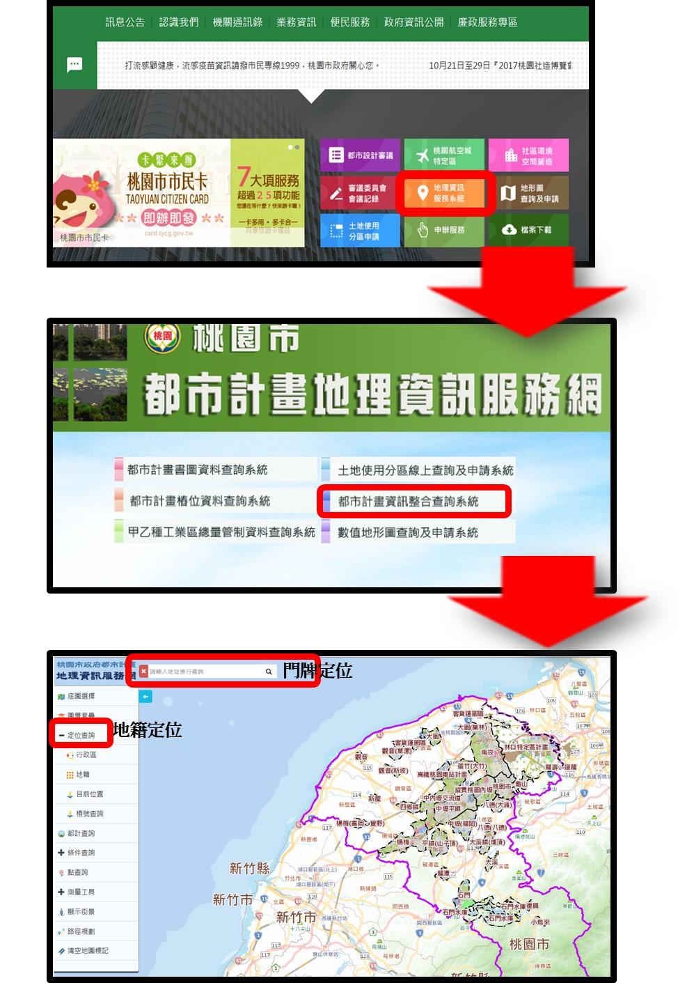 都市計畫地籍定位、門牌定位查詢