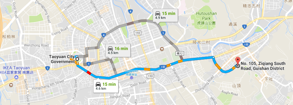 How to reach Guishan Land Office by driving from Taoyuan City Government