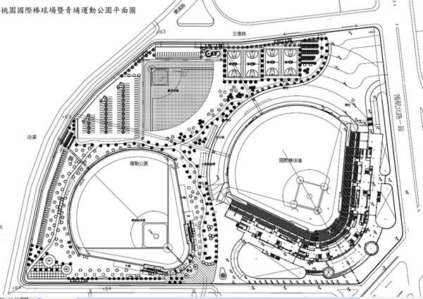 桃園國際棒球場暨青埔運動公園平面圖