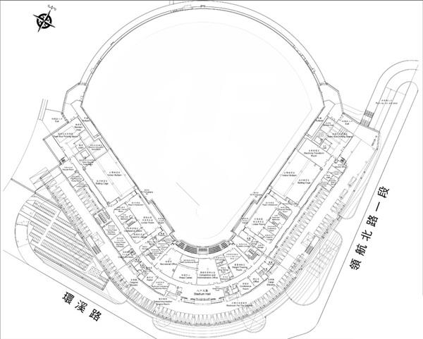 桃園國際棒球場一樓平面圖
