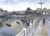 China Xian old city wall river