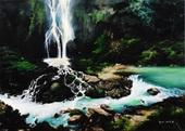 劉秀雲-馬嶺河峽谷觀瀑-油畫