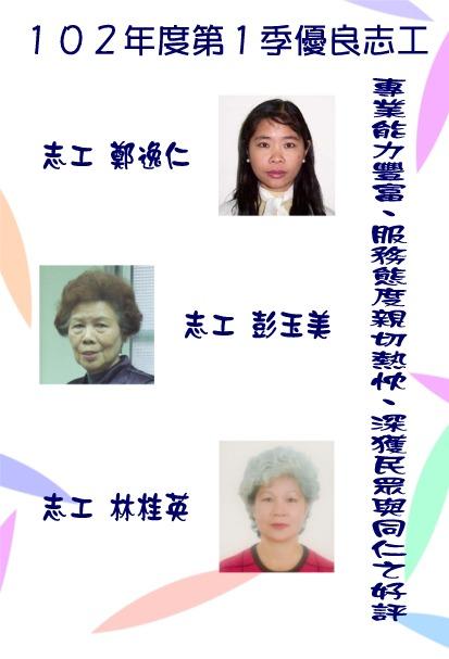 第一季志工績優人員─鄭逸仁小姐、彭玉美小姐、林桂英小姐