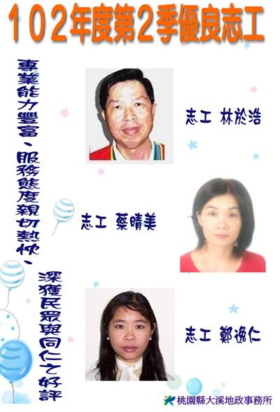 第二季志工績優人員─林於浩先生、蔡晴美小姐、鄭逸仁小姐