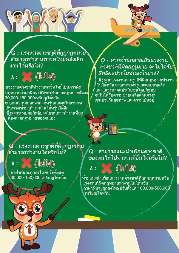合法聘僱外籍勞工宣傳DM-外籍勞工泰國版(反面)