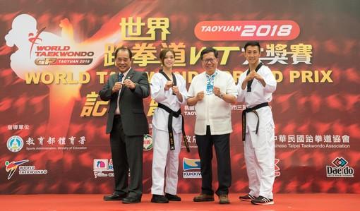 市長和中華民國跆拳道協會理事長吳兩平及嘉賓合影【另開新視窗】