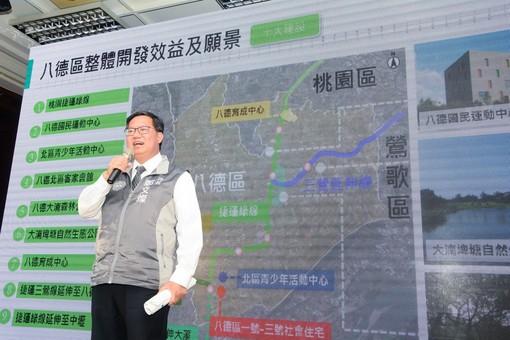 市長致詞,說明八德地區捷運路線概況【另開新視窗】
