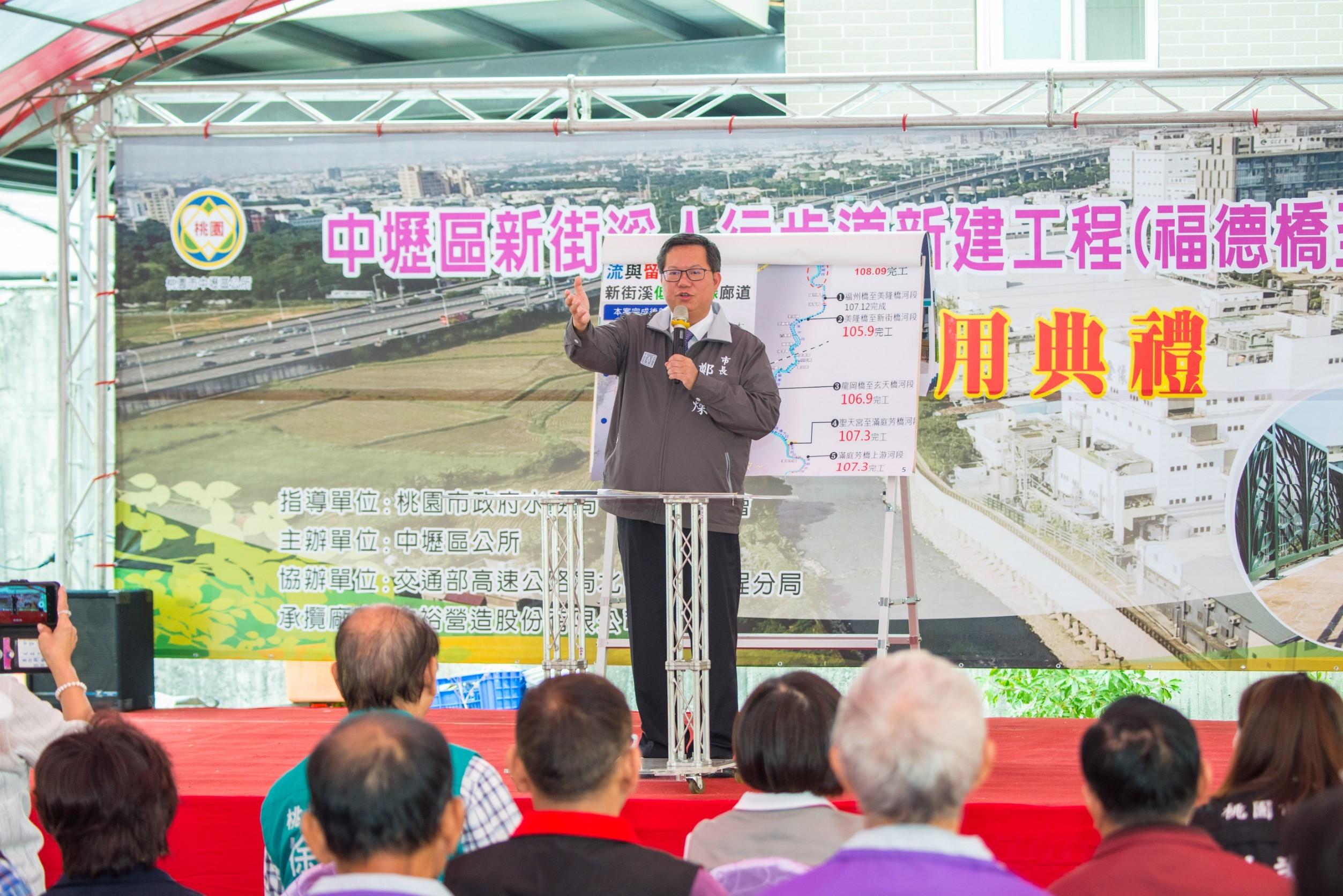 市長說,將來河濱步道預計延伸至高鐵,增加市民的休憩空間