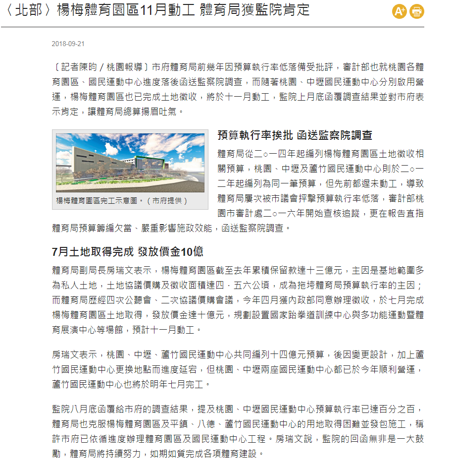 楊梅體育園區11月動工 體育局獲監院肯定