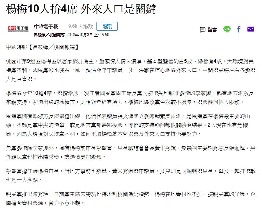 楊梅10人拚4席 外來人口是關鍵。
