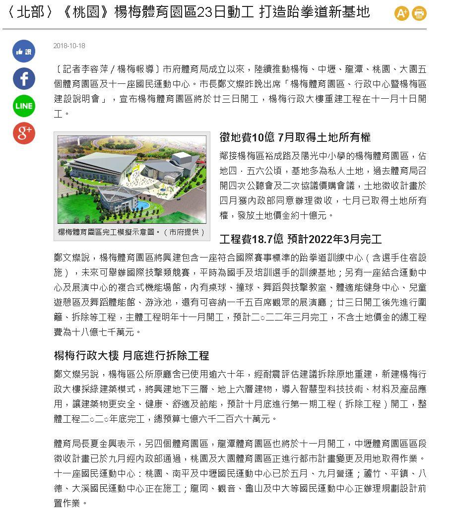 楊梅體育園區23日動工 打造跆拳道新基地