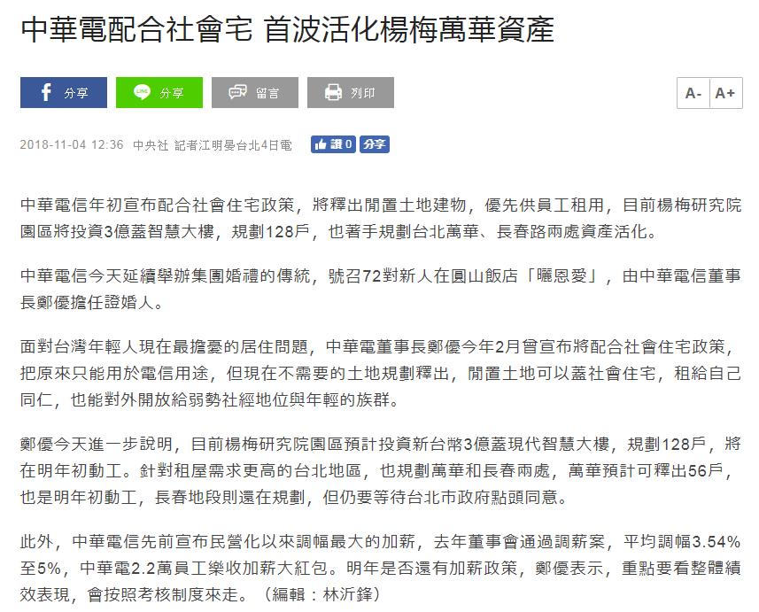 中華電配合社會宅 首波活化楊梅萬華資產