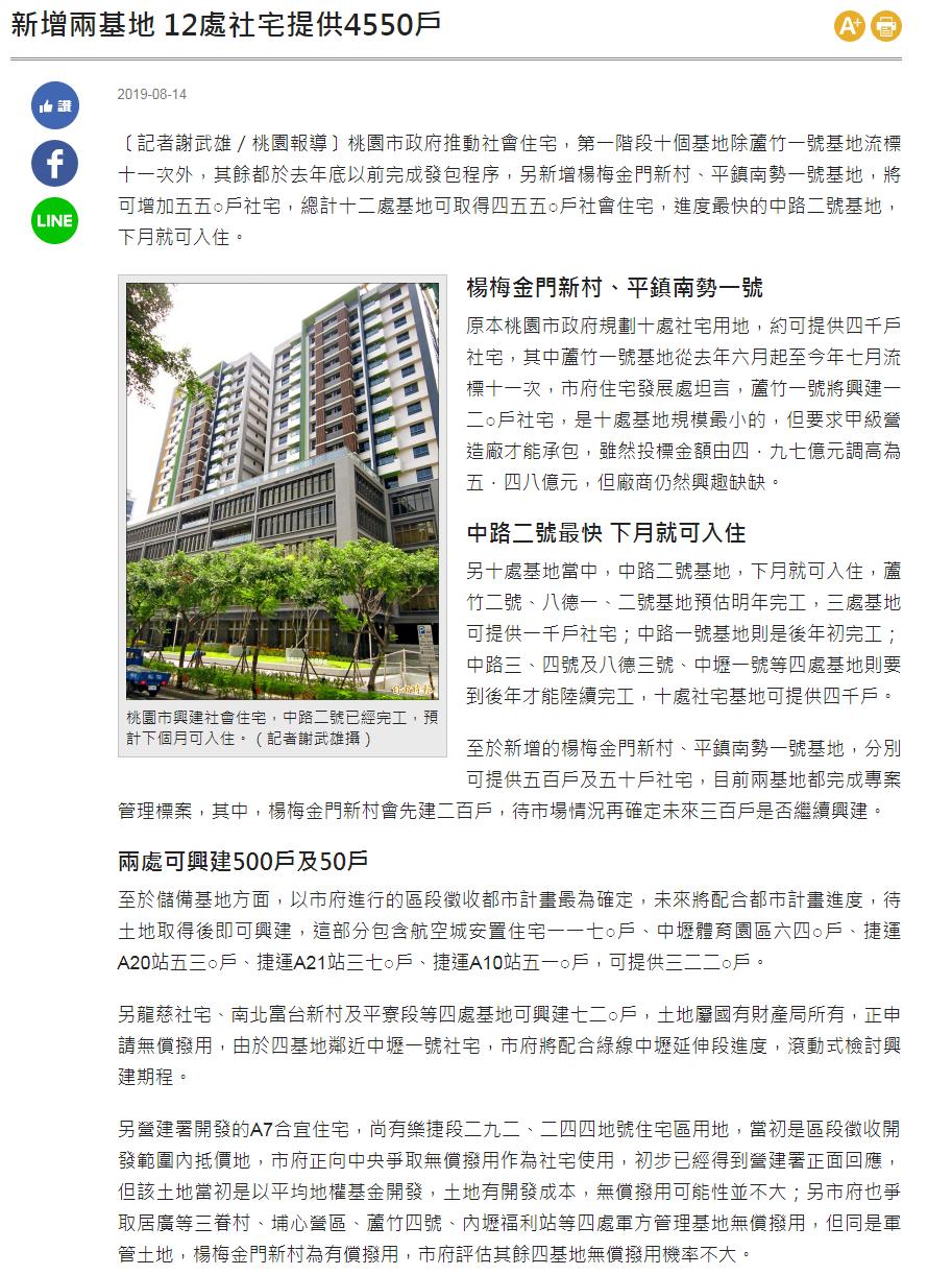 新增兩基地 12處社宅提供4550戶