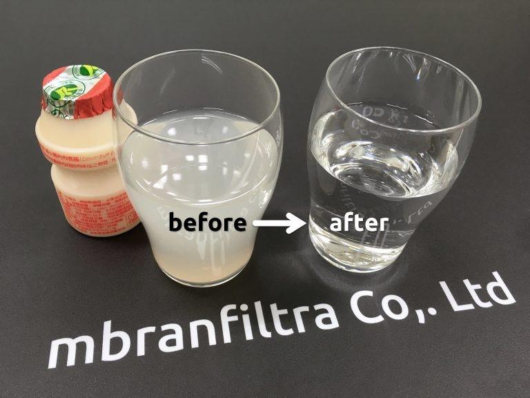 透過薄膜,可將養樂多過濾成清水