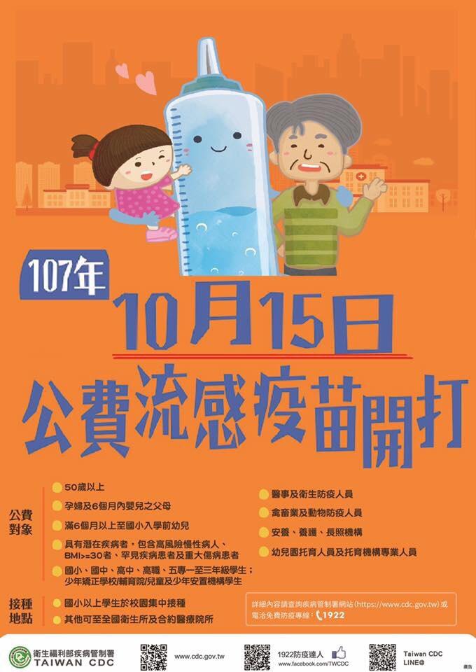 今年度流感10/15開打!